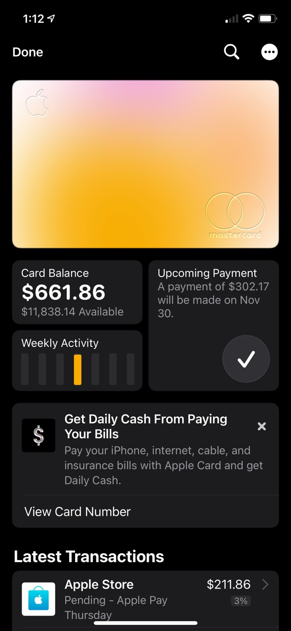 Apple Card is an entire expierence available from the Wallet app.