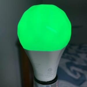 My nightstand lamp's nanoleaf essentials bulb, green with full brightness..