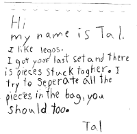 Tal's letter:can you separate piece