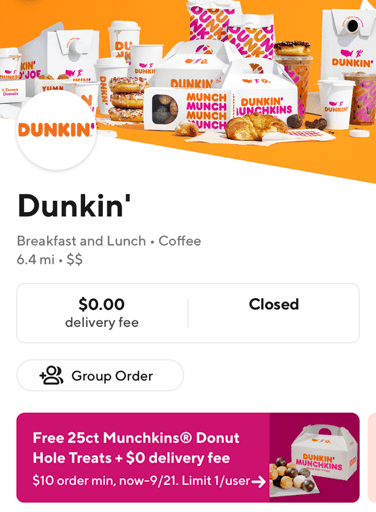 Dunkin Donuts ad inside of the Door Dash app, note the free munchkins