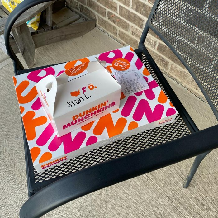 Dunkin Donuts delivered to the house via Door Dash