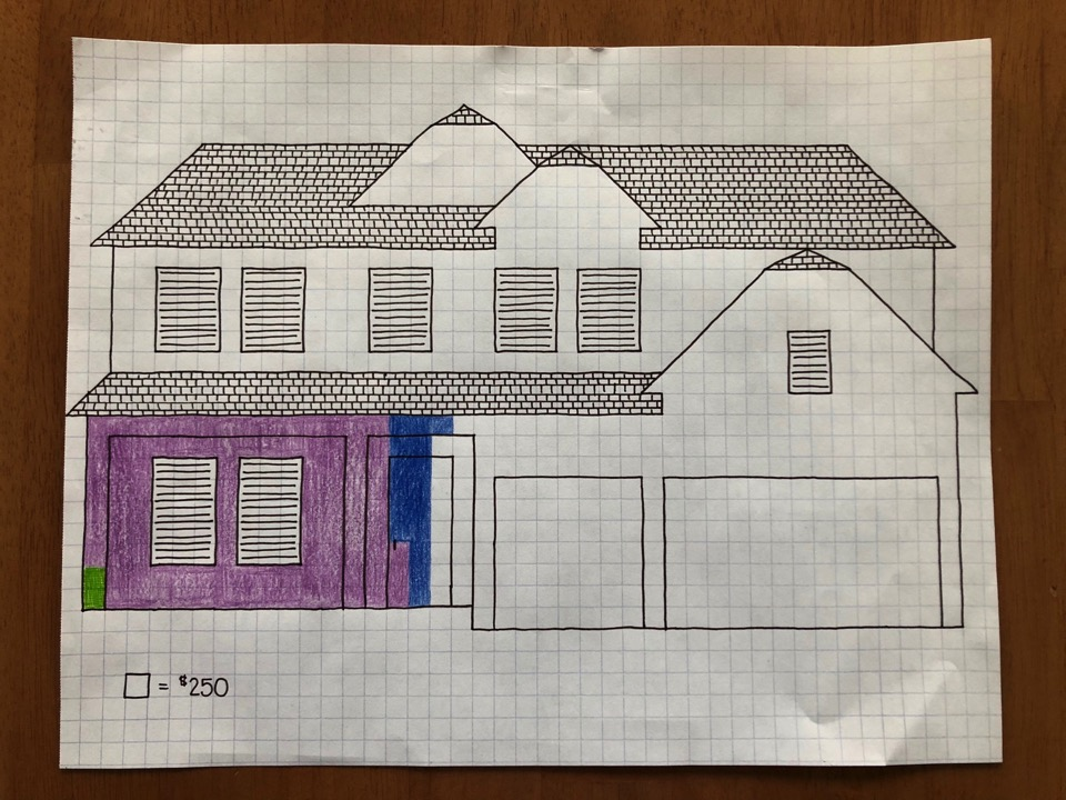 A drawing of the Lemon home representing our mortgage and showing our progress paying it off.